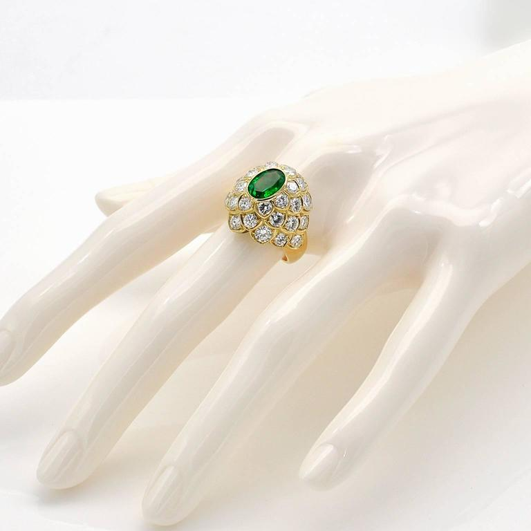Women's Emerald Diamond Yellow Gold Dome Ring For Sale