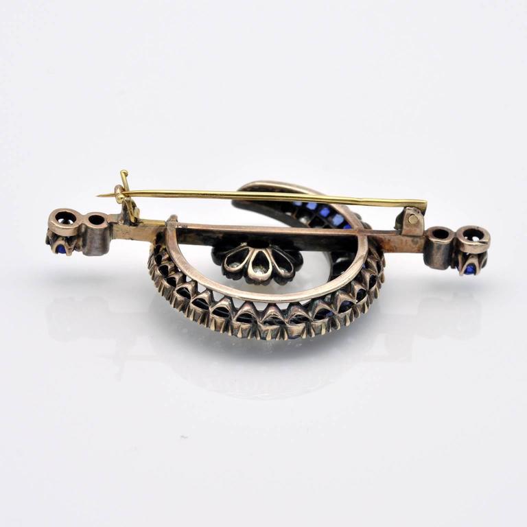 Victorian Sapphire Diamond Gold Crescent Brooch In New Condition For Sale In Monte Carlo, MC