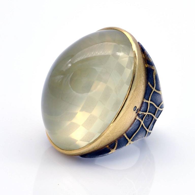 Michael Zobel Citrine Cabochon Diamond Silver Gold Ring 3
