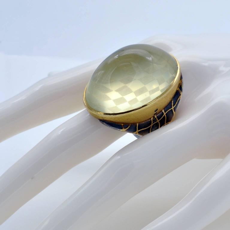 Michael Zobel Citrine Cabochon Diamond Silver Gold Ring 5