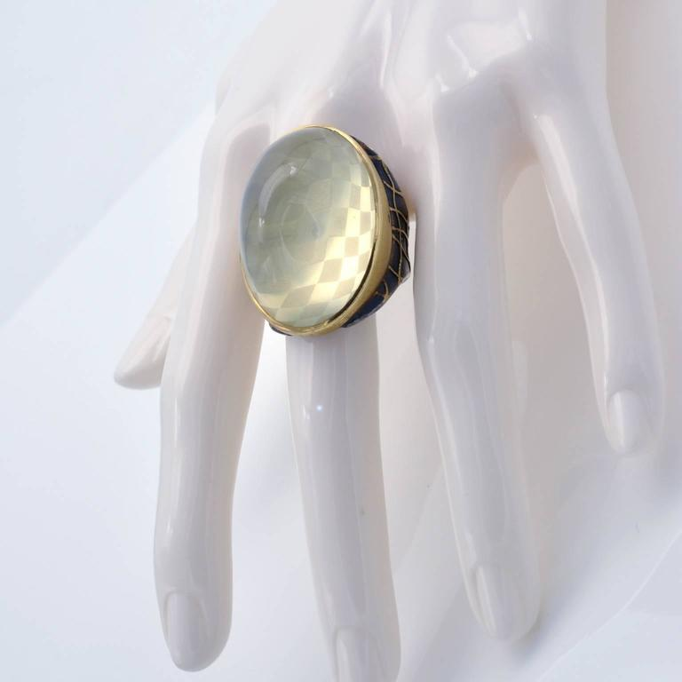 Michael Zobel Citrine Cabochon Diamond Silver Gold Ring 6