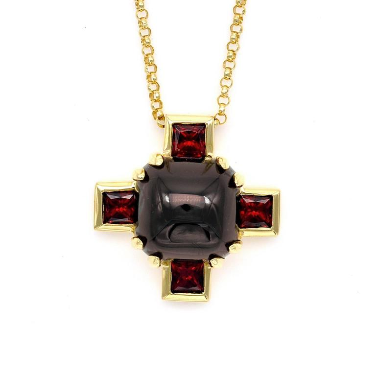 Modern Garnet and Gold Cross Pendant Necklace For Sale 1