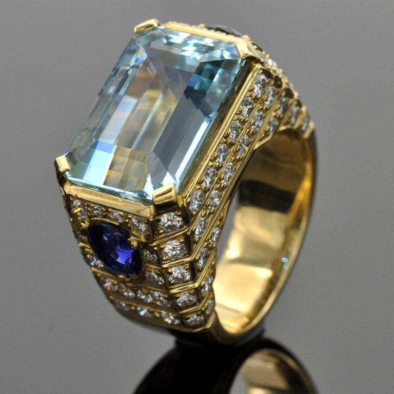 Emerald Cut Aquamarine, Sapphires and Diamond Cocktail Ring For Sale