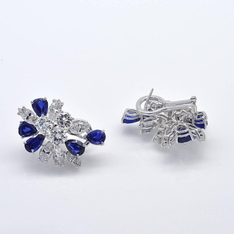Modern Missiaglia Diamond and Sapphire Clip-On Earrings For Sale
