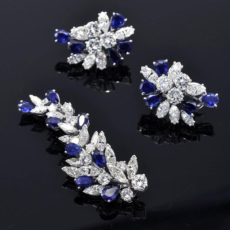 Women's Missiaglia Diamond and Sapphire Clip-On Earrings For Sale