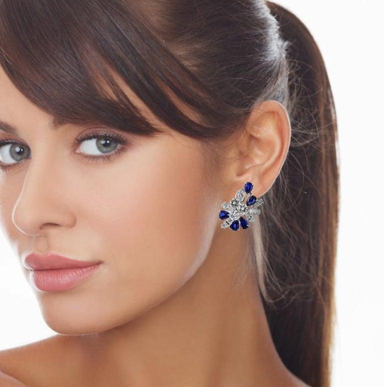 Missiaglia Diamond and Sapphire Clip-On Earrings In Excellent Condition For Sale In Monte Carlo, MC
