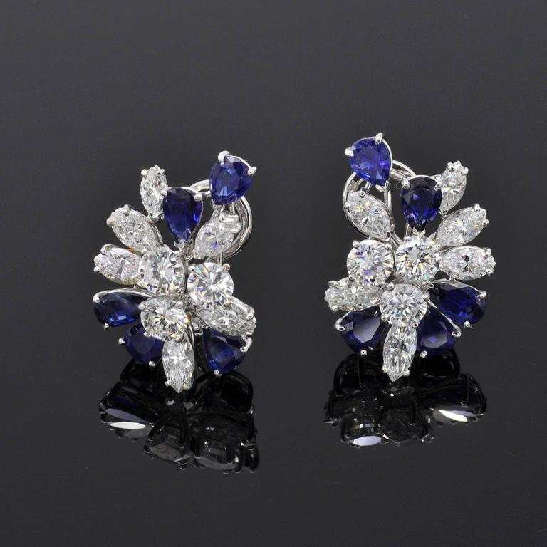 Modern Missiaglia Sapphire Diamond  Earrings and Brooch Set For Sale