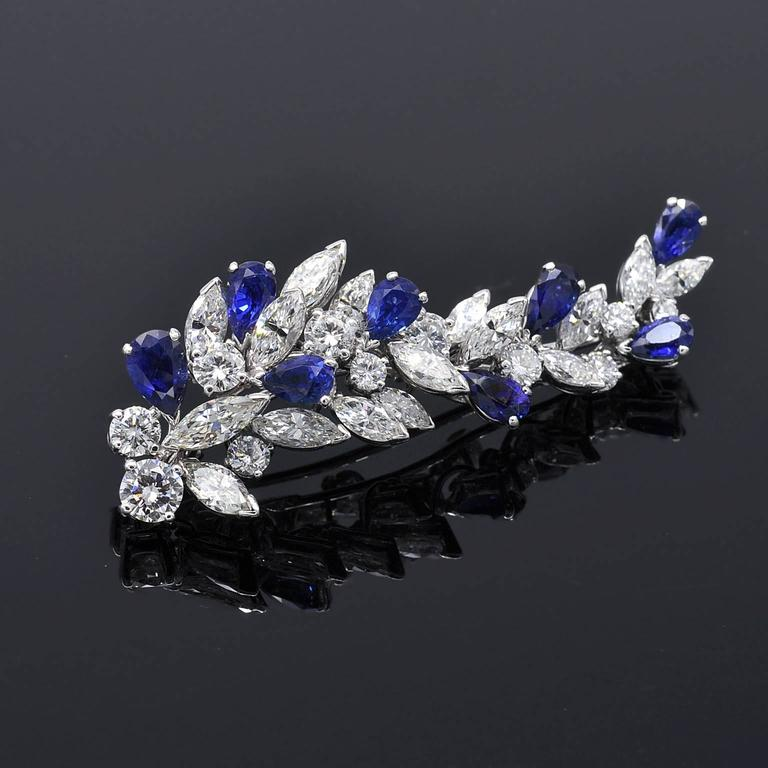 Missiaglia Sapphire Diamond  Earrings and Brooch Set In New Condition For Sale In Monte Carlo, MC