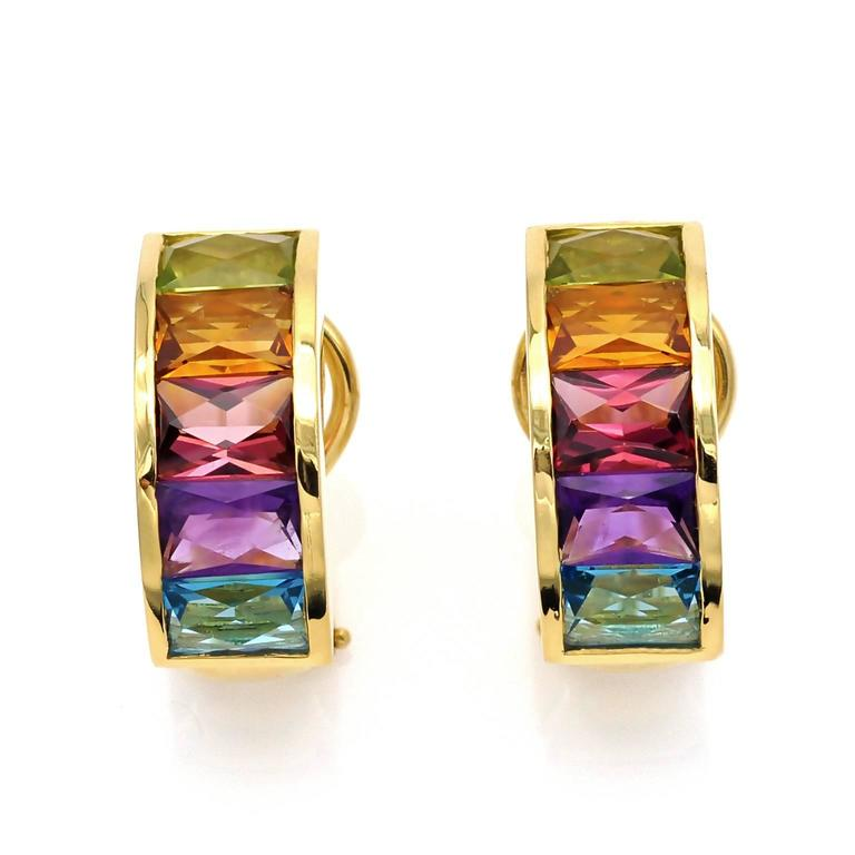Contemporary Multi Gemstone and Gold Clip-On Earrings For Sale