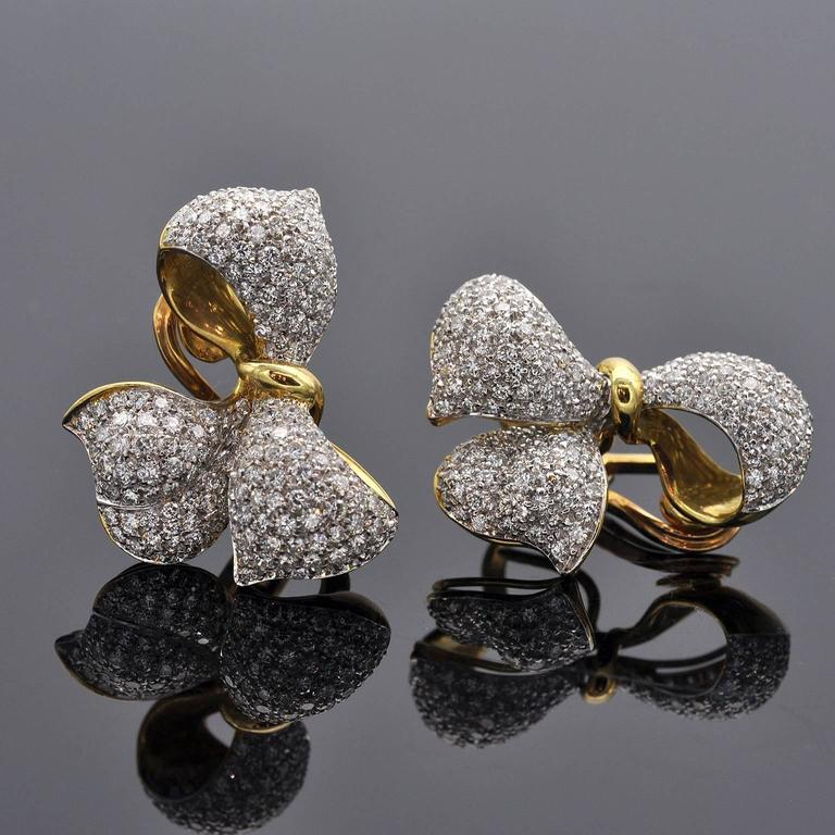 Contemporary Diamond and Gold Bow Earrings For Sale
