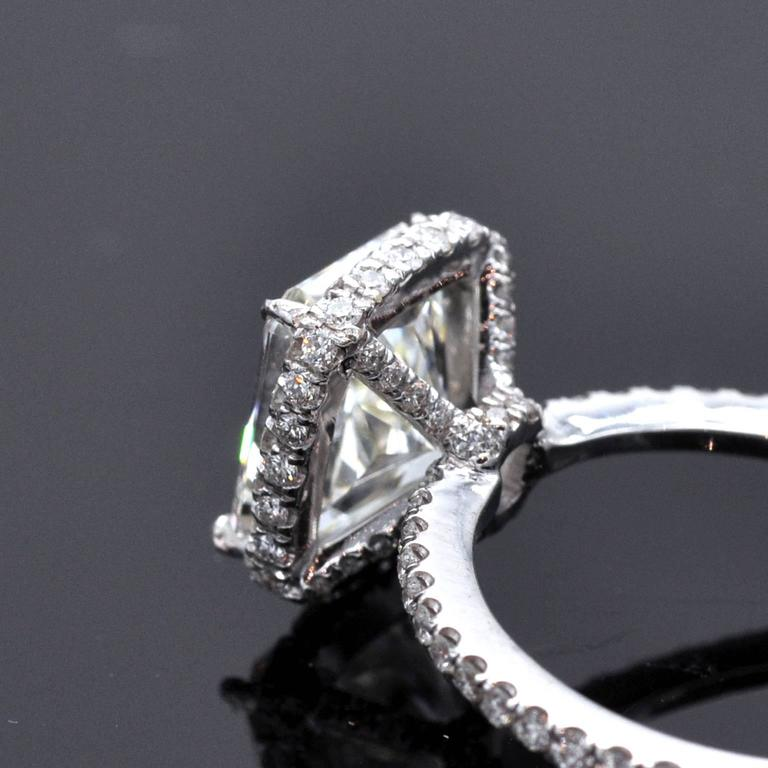 5f22addbc 3 Carat HRD Certified Radiant Brilliant 18kt Gold Ring A classic micro set halo  ring in