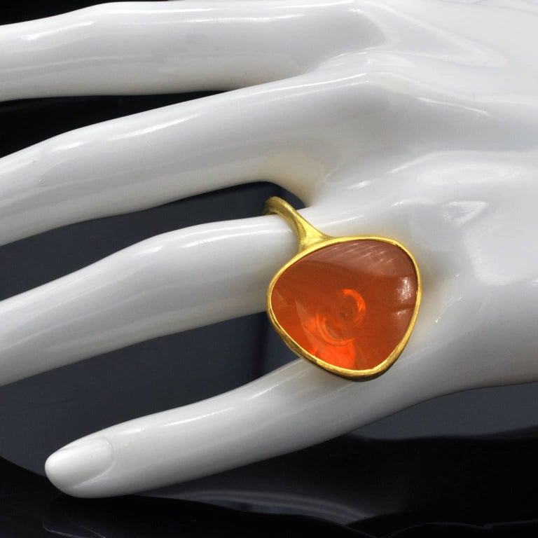 Modernist Zobel Fire Opal and Diamond Gold Ring For Sale