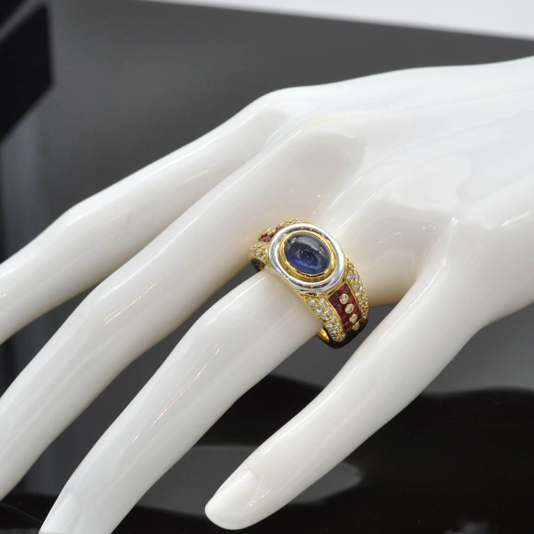 Sapphire Ruby Diamond Gold Ring In Excellent Condition For Sale In Monte Carlo, MC