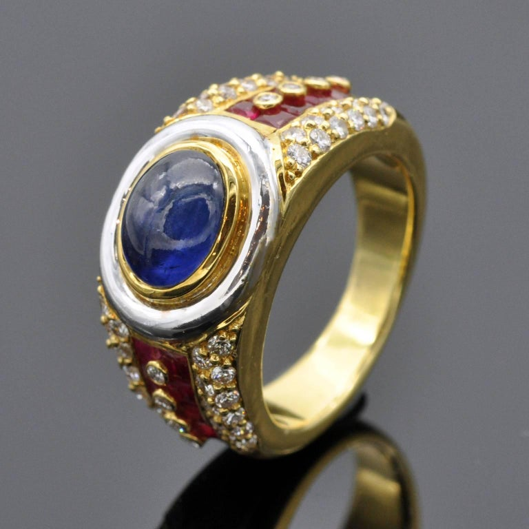 Contemporary Sapphire Ruby Diamond Gold Ring For Sale