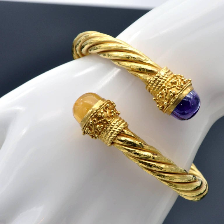 Greek Revival Twirled Yellow Gold Amethyst and Citrine Cuff Bracelet For Sale
