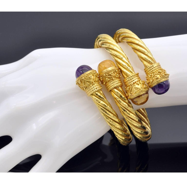 Twirled Yellow Gold Amethyst and Citrine Cuff Bracelet In New Condition For Sale In Monte Carlo, MC