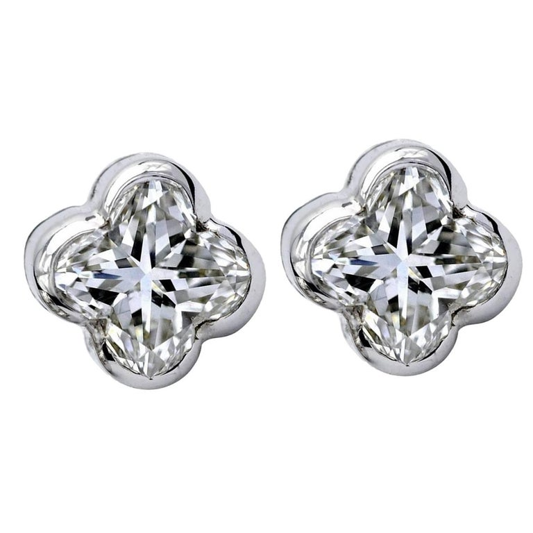 Lily Cut Diamond White Gold Stud Earrings