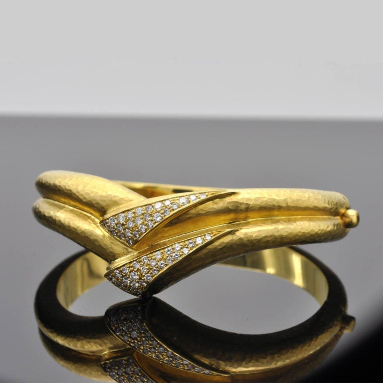 Modern Hammered Gold and Diamond Cuff Bracelet For Sale