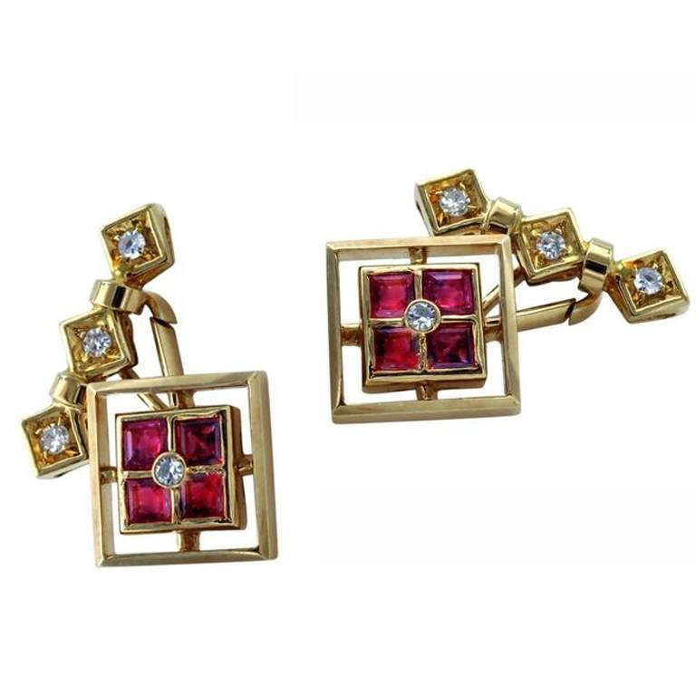 Ruby and Diamond 18 Karat Gold Cufflinks For Sale