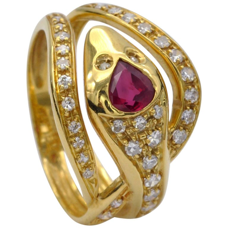 Ruby and Diamond Snake Ring