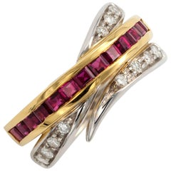 Alfieri & St. John Ruby and Diamond Gold Crossover Ring