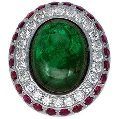 16.09 Carat Cabochon Emerald Ruby Diamond Gold Ring