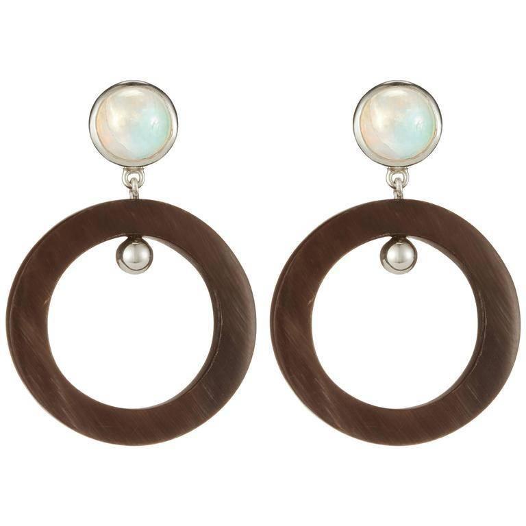 Fouche Art Deco Moonstone Horn Dangle Hoop Earrings