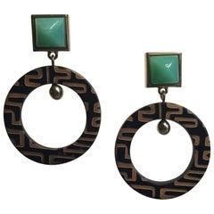 Fouché Art Deco Chrysoprase Horn Dangle Earrings