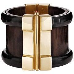Fouché Cuff Bracelet Art Deco Gold Horn Wood Emerald Ruby Sapphire