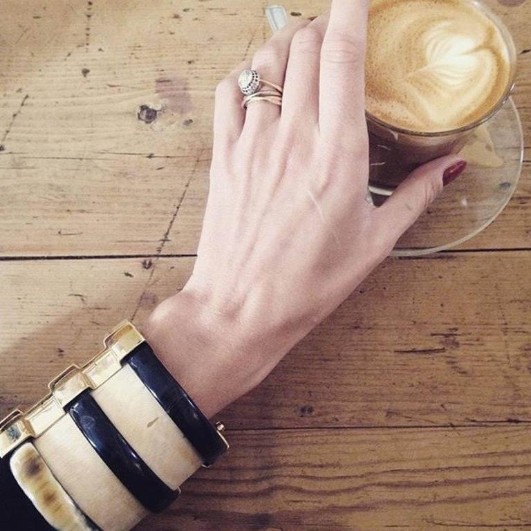 Fouche Horn Peridot Sapphire Wood Gold Cuff Bracelet 2