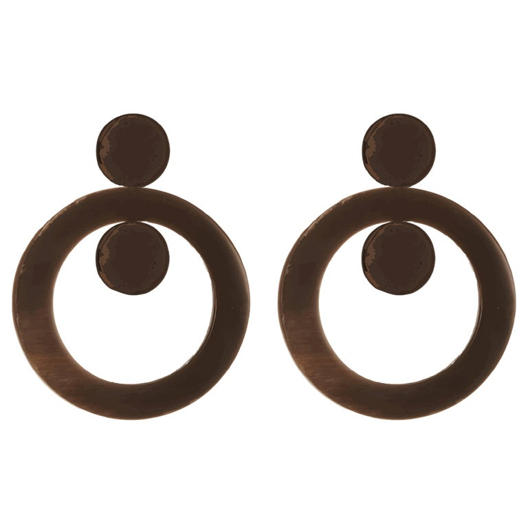 Fouche Art Deco Horn Hoop Earrings