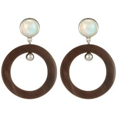Fouche Art Deco Moonstone Horn Dangle Hoop Earrings