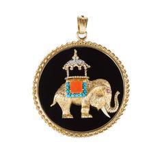 1960s Coral Diamond Onyx Turquoise Gold Elephant Pendant