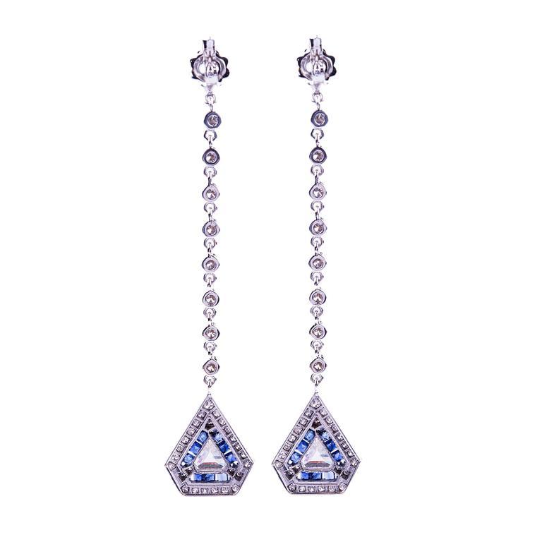 Art Deco Diamond and Sapphire Pendant Earrings