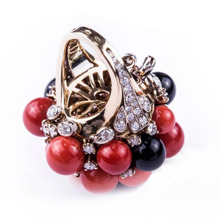 coral black jade two color gold ring for sale at
