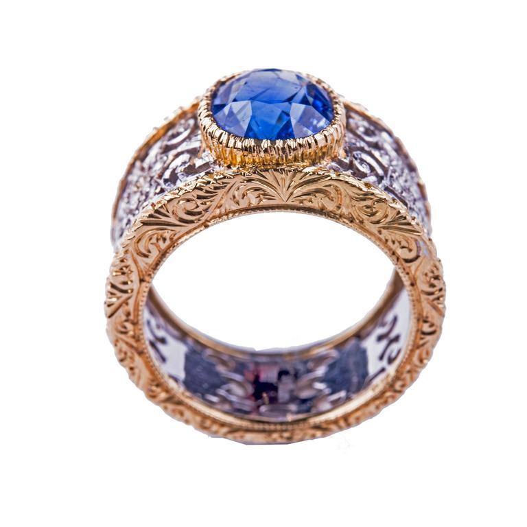 Buccellati Sapphire Diamond Gold Ring 2