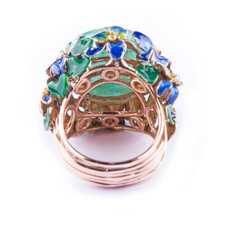 Enamel Cabochon Emerald Diamond Gold Ring 2