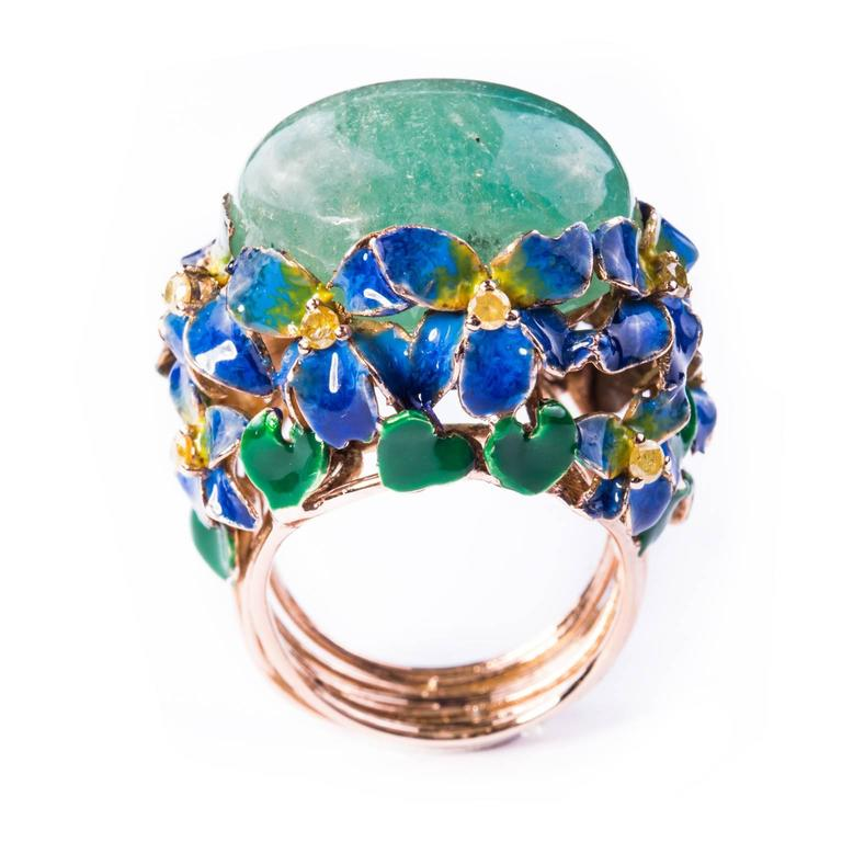 Enamel Cabochon Emerald Diamond Gold Ring 3