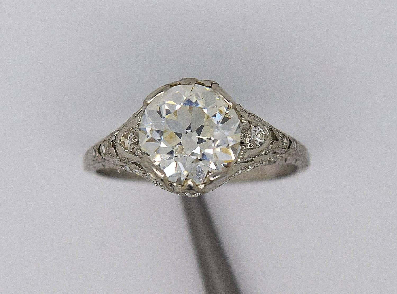 1920s deco 2 82 carats cert diamonds platinum engagement ring for sale at 1stdibs