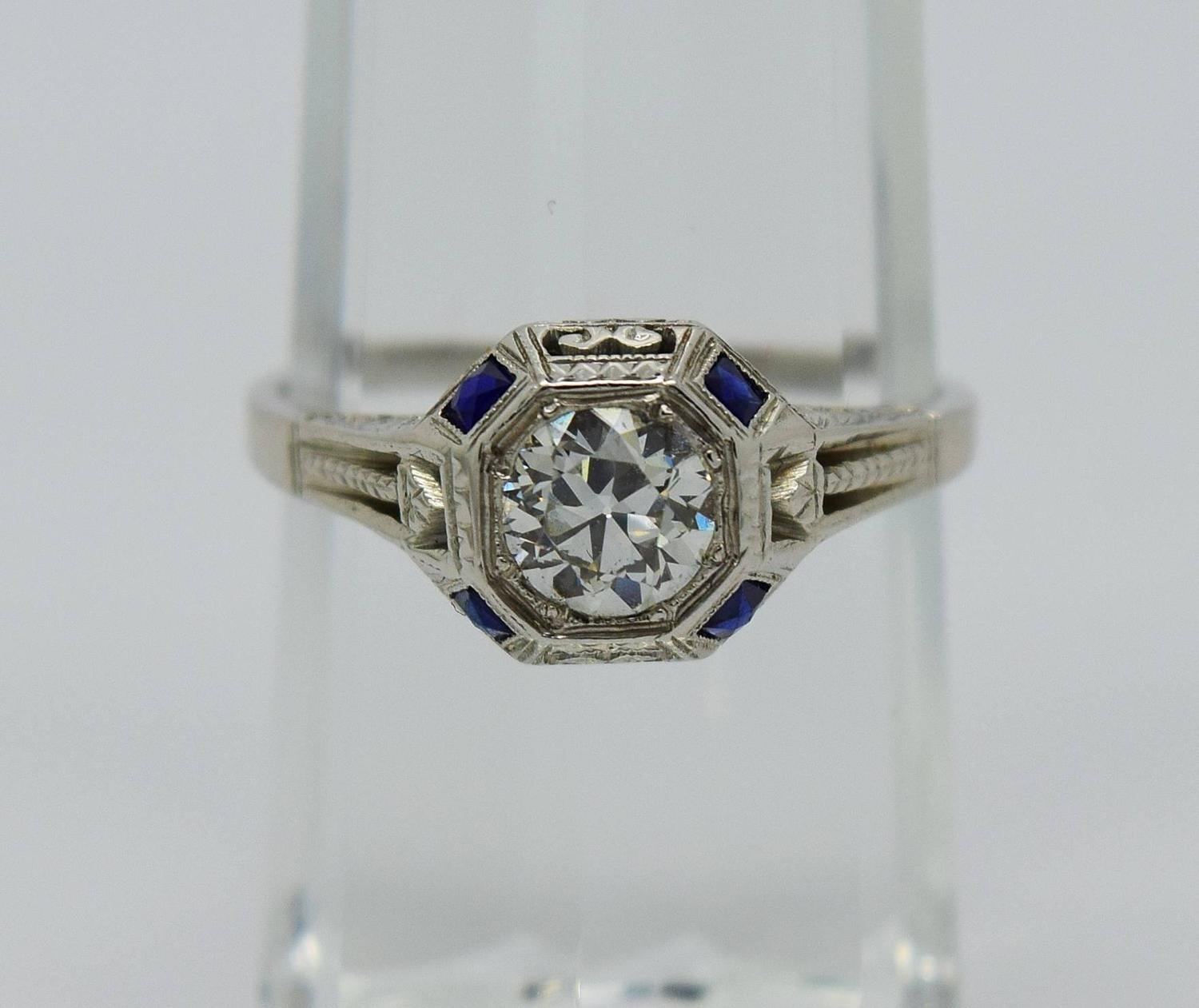 1920s deco sapphire gold engagement ring at 1stdibs