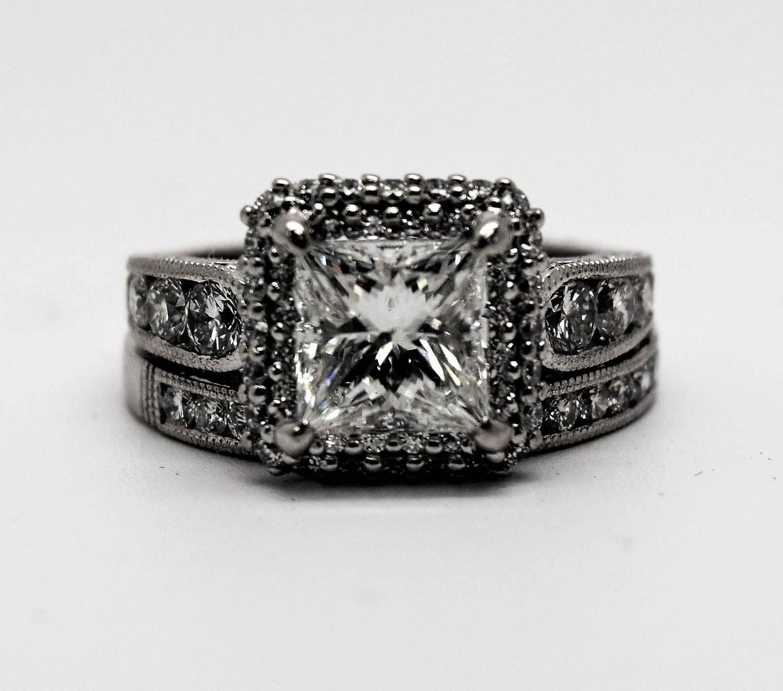 tacori princess cut gold engagement ring and