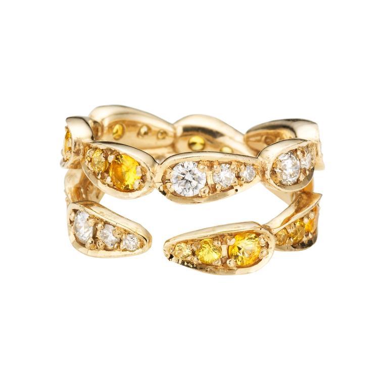 Sabine Getty White Gold Yellow Sapphire Diamond Harlequin Ring