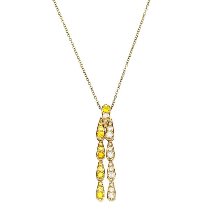 Sabine Getty Art Deco Style Yellow Sapphire Diamond Gold Harlequin Necklace