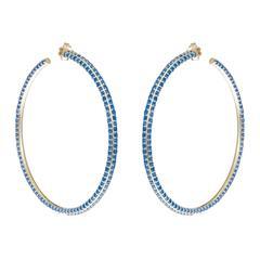 Sabine Getty Memphis Blue Topaz Inflated Hoop Earrings