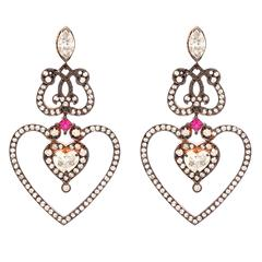 "Sabine Getty Ruby Diamond Gold ""Heart"" Earrings"
