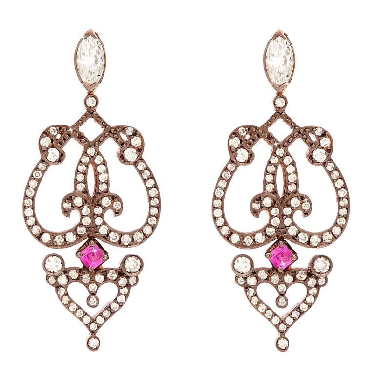 "Sabine Getty Ruby Diamond Gold ""Marquise"" Earrings 1"