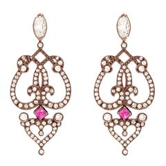 "Sabine Getty Ruby Diamond Gold ""Marquise"" Earrings"