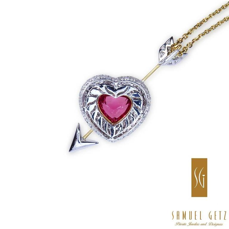 "Samuel Getz Red Spinel  Diamond ""Heart and Arrow"" Pendant 2"