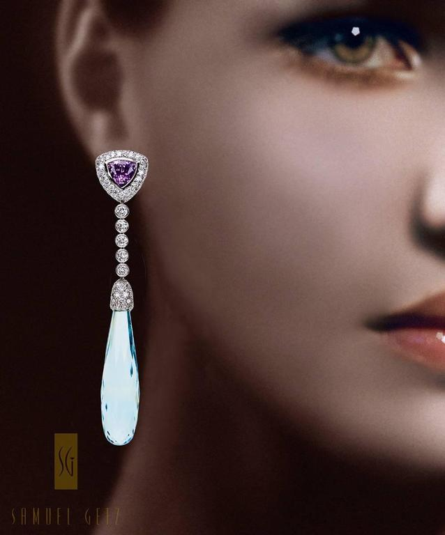 """Samuel Getz"" Aquamarine Drop Pendant Earrings with Lavender Spinel and Diamonds 2"