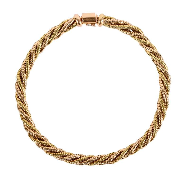 Yellow and Rose Gold Five Row Tubogas Necklace